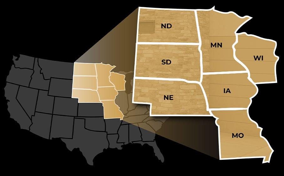 Service Area: ND, SD, NB, MN, IA, MO, WI